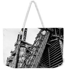 Black And White - Bethlehem Steel Mill Weekender Tote Bag by Bill Cannon