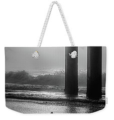 Weekender Tote Bag featuring the photograph Black And White Bird Beach by John McGraw