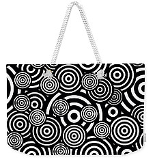 Black And White Bullseye Abstract Pattern Weekender Tote Bag by Saundra Myles