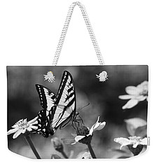 Black And White Butterfly On Flower Weekender Tote Bag by Jim and Emily Bush