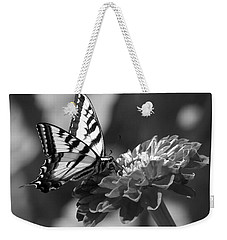 Black And White Butterfly On Zinnia Weekender Tote Bag by Jim And Emily Bush