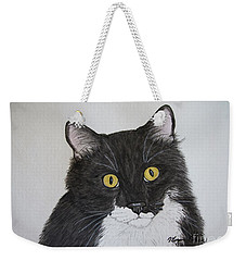 Black And White Cat Weekender Tote Bag by Megan Cohen