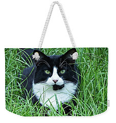 Black And White Cat With Green Eyes Weekender Tote Bag
