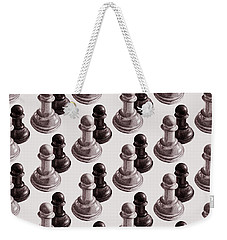 Black And White Chess Pawns Pattern Weekender Tote Bag
