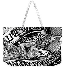 Black And White Emblem Weekender Tote Bag by Chris Berry