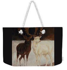 Black And White Fallow Deers Weekender Tote Bag
