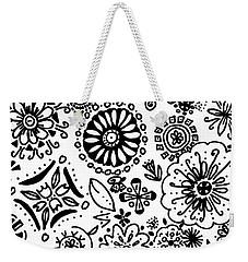 Black And White Floral Doodle Weekender Tote Bag