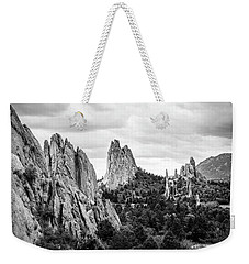 Weekender Tote Bag featuring the photograph Black And White Garden Of The Gods by Marilyn Hunt