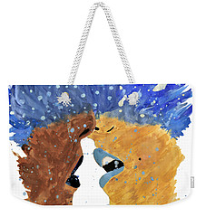 Romantic Kissing With Stars In Their Hair Weekender Tote Bag by Lucy Frost