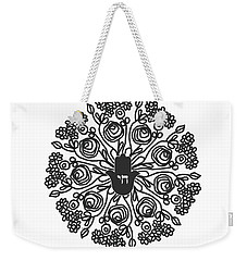 Weekender Tote Bag featuring the mixed media Black And White Hamsa Mandala- Art By Linda Woods by Linda Woods
