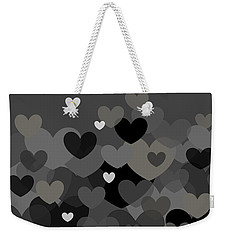 Black And White Heart Abstract Weekender Tote Bag