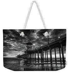 Black And White Huntington Beach Pier Weekender Tote Bag