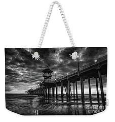 Black And White Huntington Beach Pier Weekender Tote Bag