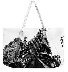 Black And White Industrial - Bethlehem Steel Weekender Tote Bag by Bill Cannon