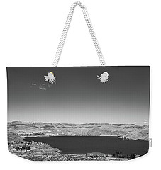 Black And White Landscape Photo Of Dry Glacia Ancian Rock Desert Weekender Tote Bag