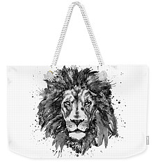 Weekender Tote Bag featuring the mixed media Black And White Lion Head  by Marian Voicu