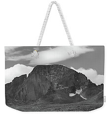 Weekender Tote Bag featuring the photograph Black And White Longs Peak Detail by Dan Sproul