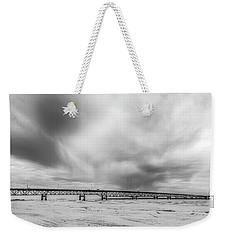 Weekender Tote Bag featuring the photograph Black And White Mackinac Bridge Winter by John McGraw