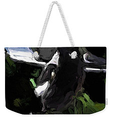 Black And White Magpie On The Porch Weekender Tote Bag