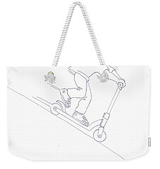 Black And White Micro Scooter Downhill Drawing Weekender Tote Bag