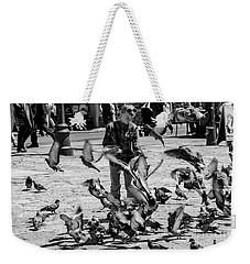 Black And White Of Boy Feeding Pigeons In Sarajevo, Bosnia And Herzegovina  Weekender Tote Bag