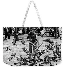 Black And White Of Boy Feeding Pigeons In Sarajevo, Bosnia And Herzegovina  Weekender Tote Bag