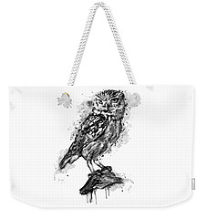 Weekender Tote Bag featuring the mixed media Black And White Owl by Marian Voicu