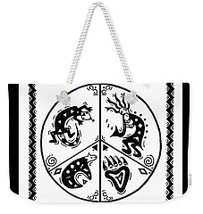 Black And White Peace And Love Weekender Tote Bag