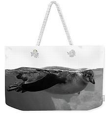 Black And White Penguin Weekender Tote Bag by Brooke T Ryan