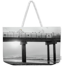 Weekender Tote Bag featuring the photograph Black And White Pier Alabama  by John McGraw