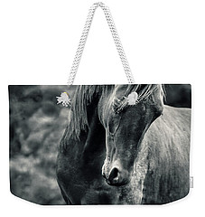 Black And White Portrait Of Horse Weekender Tote Bag