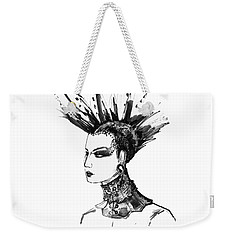 Weekender Tote Bag featuring the digital art Black And White Punk Rock Girl by Marian Voicu