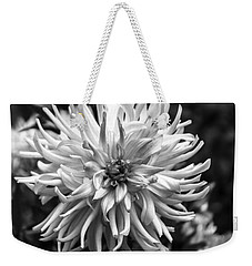 Black And White Ragged Dahlia Weekender Tote Bag