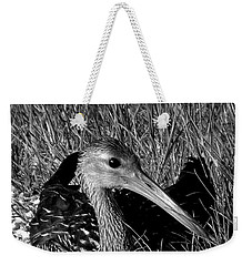 Black And White Resting Limpkin Bird Weekender Tote Bag