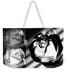Black And White Roses Weekender Tote Bag by Phyllis Denton