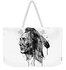 Weekender Tote Bag featuring the mixed media Black And White Sioux Warrior Watercolor by Marian Voicu