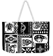 Weekender Tote Bag featuring the painting Black And White Southwest Sampler by Susie WEBER