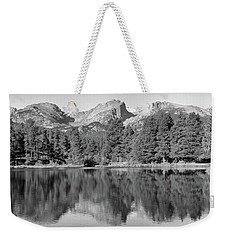 Weekender Tote Bag featuring the photograph Black And White Sprague Lake Reflection by Dan Sproul