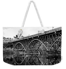 Weekender Tote Bag featuring the photograph Black And White - Strawberry Mansion Bridge - Philadelphia by Bill Cannon