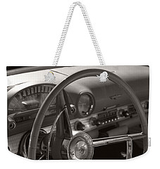 Black And White Thunderbird Steering Wheel  Weekender Tote Bag by Heather Kirk