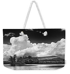 Black And White Vienna Maine Flying Pond With Storm Clouds Fine Art Print Weekender Tote Bag