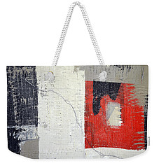 Weekender Tote Bag featuring the painting Black And White With Red Box by Michelle Calkins