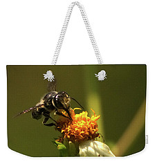 Black And Yellow Bee Pollinating Weekender Tote Bag