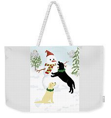 Black And Yellow Labs With Snowman Weekender Tote Bag