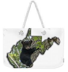 Black Bear Cub Climbing Down A Tree Weekender Tote Bag