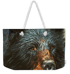 Weekender Tote Bag featuring the painting Black Bear by David Stribbling