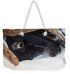 Weekender Tote Bag featuring the digital art Black Bear In Its Winter Den by Chris Flees