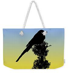 Black-billed Magpie Silhouette At Sunrise Weekender Tote Bag