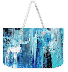 Weekender Tote Bag featuring the painting Black Blue Abstract Painting by Christina Rollo