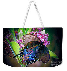 Black Blue Butterfly Weekender Tote Bag by Shirley Moravec